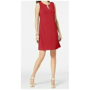 JM Collection Shift Dress Sleeveless O-Ring Red